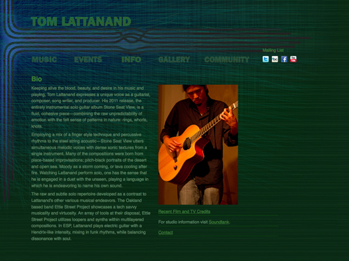 Tom Lattanand Music website bio
