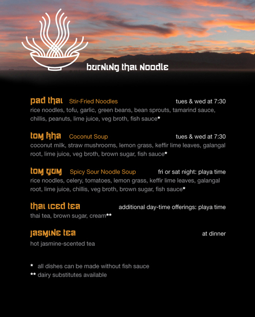 Burning Thai Noodle menu front